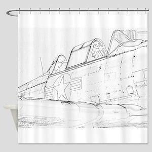 Aviation Sketch Shower Curtain