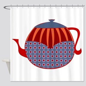 Rolly Retro Teapot (unlined) Shower Curtain