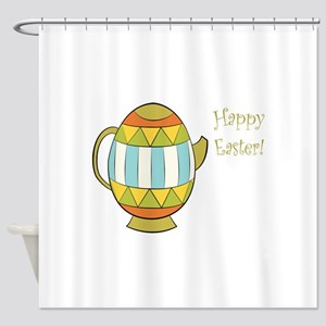 Happy Easter Egg Teapot Shower Curtain