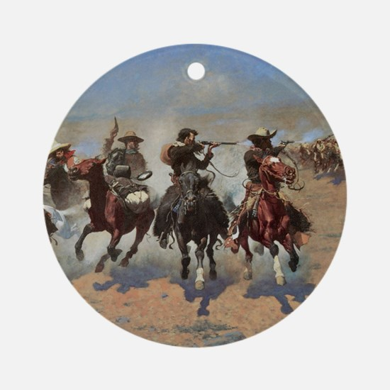 Vintage Cowboys by Remington Round Ornament