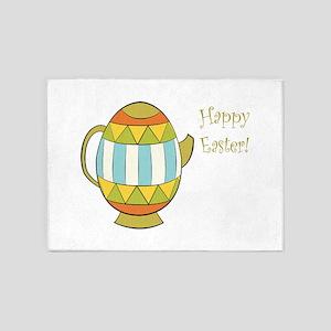 Happy Easter Egg Teapot 5'x7'Area Rug