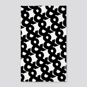 Ampersand Pattern Black and White 3'x5' Area Rug