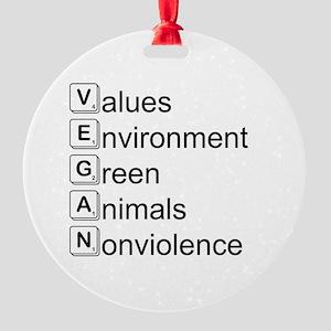 Vegan Scrabble Letters Round Ornament