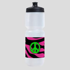 HOT PINK ZEBRA GREEN PEACE Sports Bottle