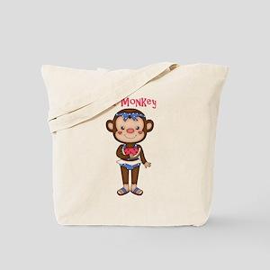 Monkey Girl Eating Watermelon Tote Bag