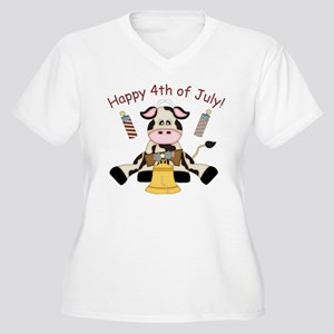 Happy 4th of July Women's Plus Size V-Neck T-Shirt