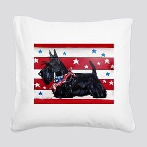 American Scottie Square Canvas Pillow