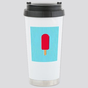 Red Popsicle on Teal Stripes Travel Mug