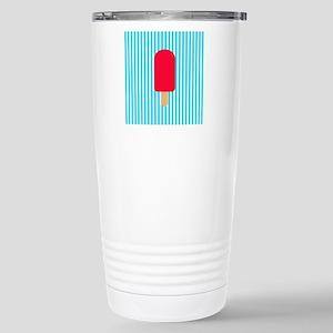 Red Popsicle on Teal Stripes Travel Mug