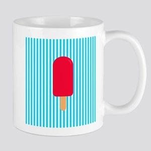 Red Popsicle on Teal Stripes Mugs