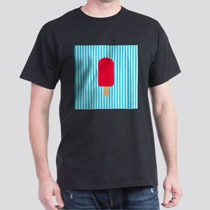 Red Popsicle on Teal Stripes T-Shirt