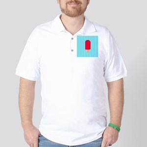 Red Popsicle on Teal Stripes Golf Shirt