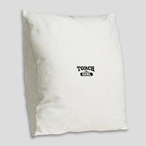 Torch Girl Burlap Throw Pillow