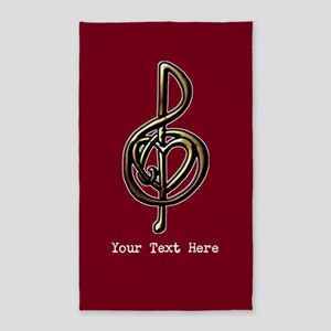 Red Music Heart Treble Clef 3'x5' Area Rug