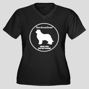 Newf Enough Women's Plus Size V-Neck Dark T-Shirt