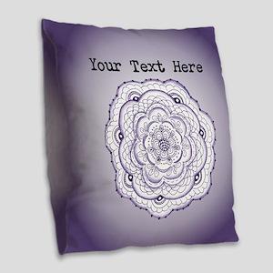 Purple Flower Original Art Per Burlap Throw Pillow