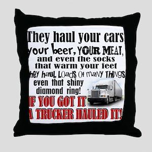 Trucker Hauled It Throw Pillow