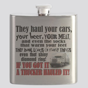 Trucker Hauled It Flask