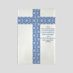 John 6:35 Word Cross Rectangle Magnet