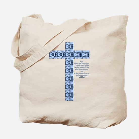 John 6:35 Word Cross Tote Bag