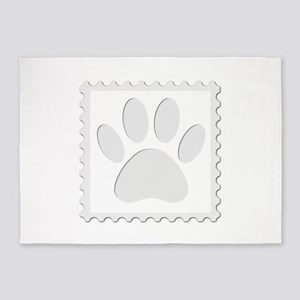 Dog Paw Print Cut Out 5'x7'Area Rug