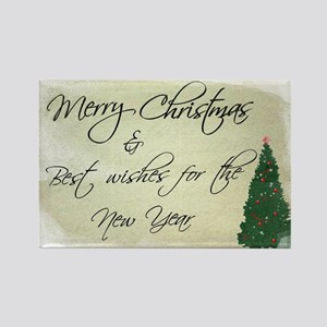"""Merry Christmas & Best Wishes Fo Rectangle Magnet"