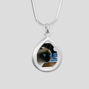 cat 396 siamese Silver Teardrop Necklace
