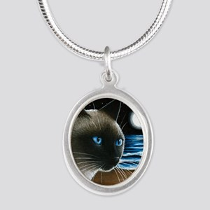 cat 396 siamese Silver Oval Necklace