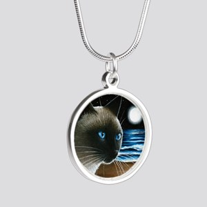 cat 396 siamese Silver Round Necklace