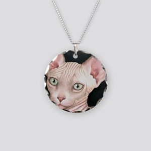 Cat 412 sphynx Necklace Circle Charm