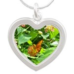 Orange Butterfly Silver Heart Necklace