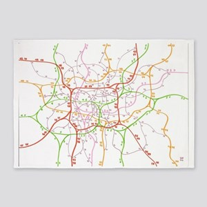 Public transport map 5'x7'Area Rug