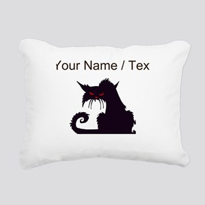 Custom Angry Black Cat Rectangular Canvas Pillow