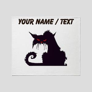 Custom Angry Black Cat Throw Blanket