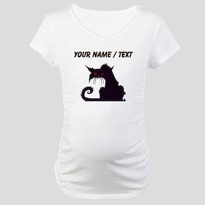 Custom Angry Black Cat Maternity T-Shirt