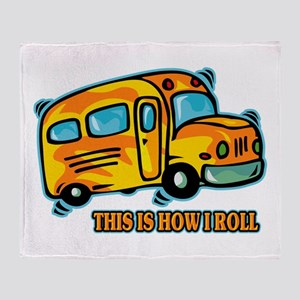 How I Roll School Bus Throw Blanket