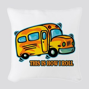 How I Roll School Bus Woven Throw Pillow