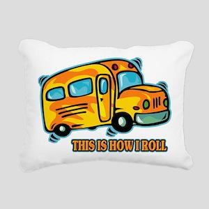 How I Roll School Bus Rectangular Canvas Pillow