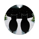 Black cat Round Ornaments