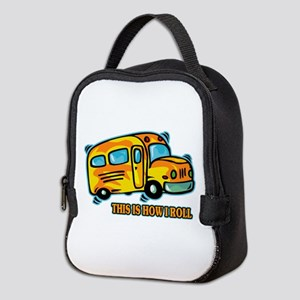 How I Roll School Bus Neoprene Lunch Bag