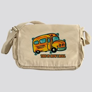 How I Roll School Bus Messenger Bag