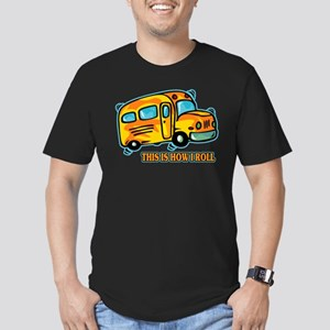 How I Roll School Bus Men's Fitted T-Shirt (dark)
