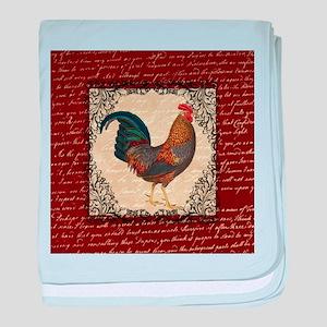 Red Vintage Rooster baby blanket