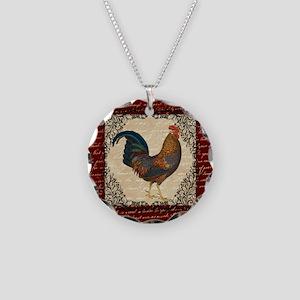 Red Vintage Rooster Necklace