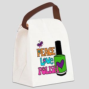 Peace Love Polish Canvas Lunch Bag