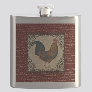 Red Vintage Rooster Flask