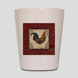 Red Vintage Rooster Shot Glass