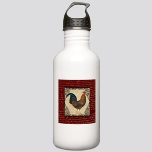 Red Vintage Rooster Water Bottle