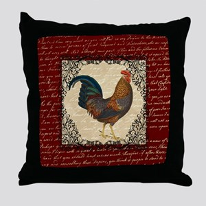 Red Vintage Rooster Throw Pillow