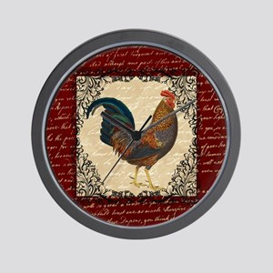 Red Vintage Rooster Wall Clock
